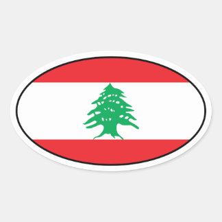 Lebanon Flag Oval Sticker