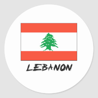 Lebanon Flag Round Sticker