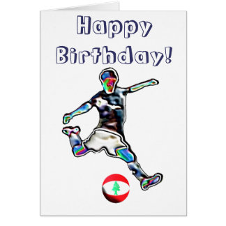 Lebanon Football soccer birthday card