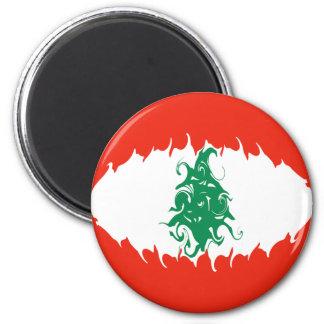 Lebanon Gnarly Flag 6 Cm Round Magnet