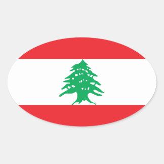 Lebanon/Lebanese Flag Oval Sticker