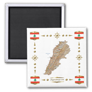Lebanon Map + Flags Magnet