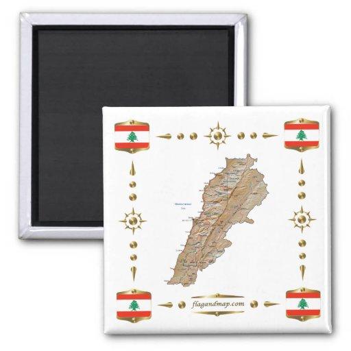 Lebanon Map + Flags Magnet