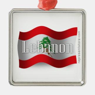 Lebanon Waving Flag Christmas Ornament