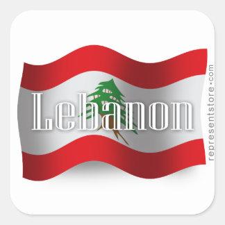 Lebanon Waving Flag Square Sticker