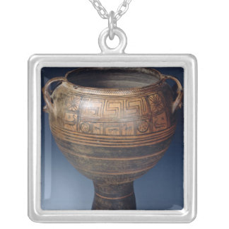 Lebes decorated with a geometric pattern silver plated necklace