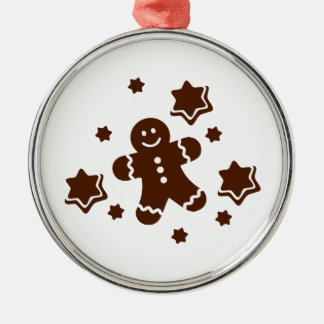 Lebkuchen christmas cookies Silver-Colored round decoration