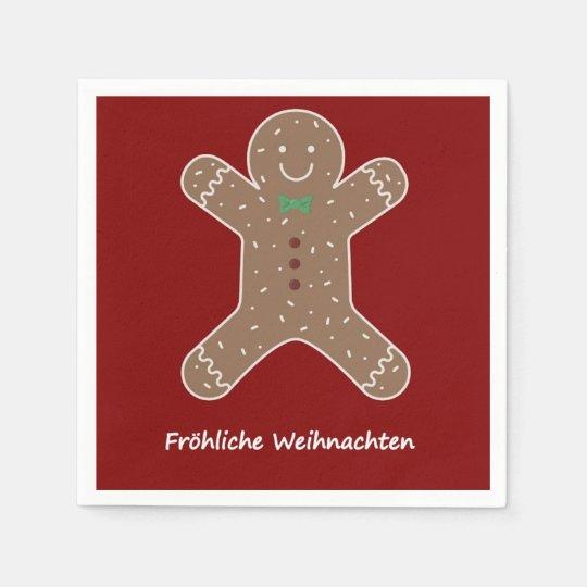 Lebkuchenmann Fröhliche Weihnachten Disposable Napkin
