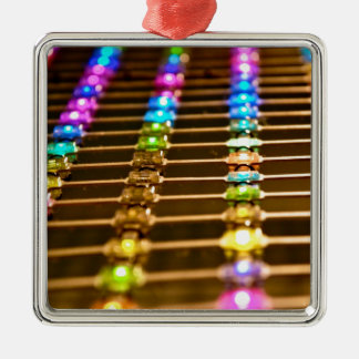LED Abstraction Silver-Colored Square Decoration