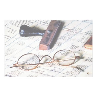 Ledger With Eyeglasses and Rubber Stamp Stationery Design