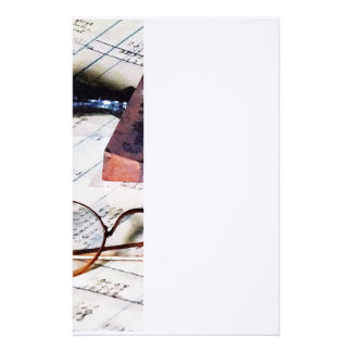Ledger With Eyeglasses and Rubber Stamp Custom Stationery