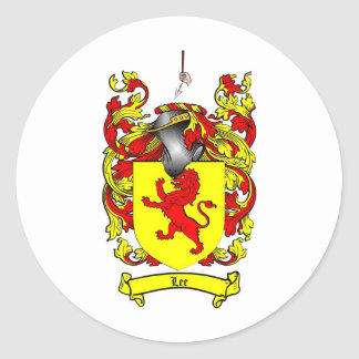LEE FAMILY CREST -  LEE COAT OF ARMS ROUND STICKER
