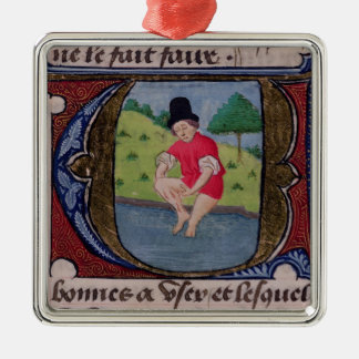Leeching, from 'Traite de Medecine' Silver-Colored Square Decoration