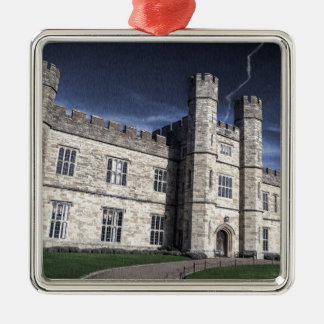 Leeds castle at night Silver-Colored square decoration