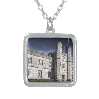 Leeds castle at night silver plated necklace