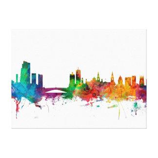 Leeds England Skyline Stretched Canvas Prints
