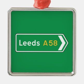 Leeds, UK Road Sign Christmas Ornament