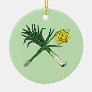 Leek and Daffodil Crossed Christmas Ornament