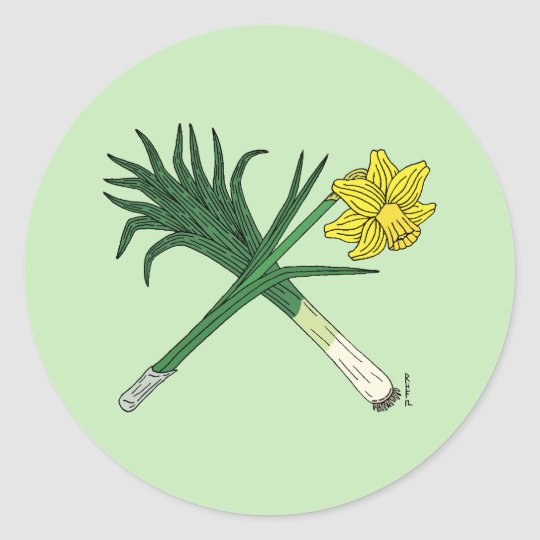 Leek and Daffodil Crossed Classic Round Sticker