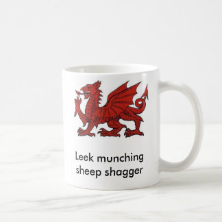 Leek munching sheep shagger basic white mug