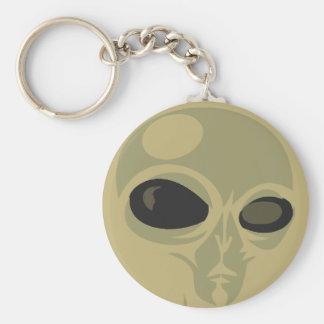 Leering eyes alien face customizable basic round button key ring