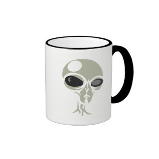 Leering eyes alien face customizable coffee mug
