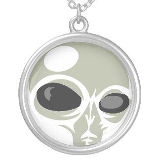 Leering eyes alien face customizable round pendant necklace