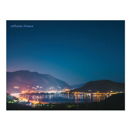 Lefkada, Greece by night Postcard