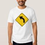 Left Curve Ahead Highway Sign Tshirts