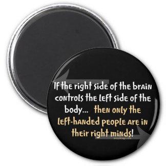 Left-handed people 6 cm round magnet