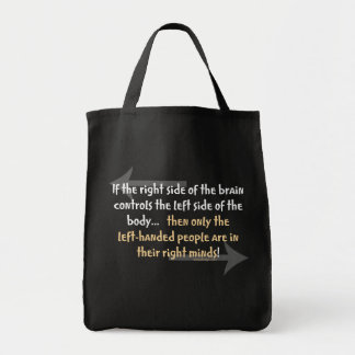Left-handed people grocery tote bag
