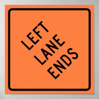 Left Lane Ends Construction Highway Sign Poster