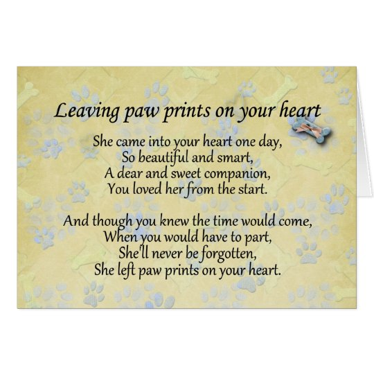Left paw prints on heart pet loss sympathy