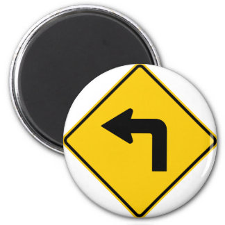 Left Turn Ahead Highway Sign 6 Cm Round Magnet