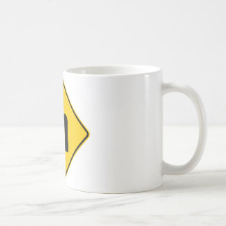 Left Turn Ahead Highway Sign Basic White Mug