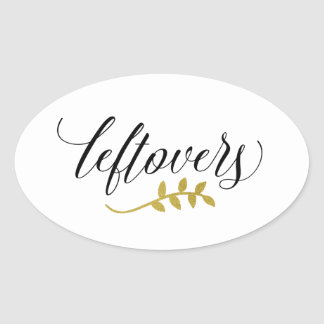 Leftovers | Modern Typography and Faux Gold Branch Oval Sticker