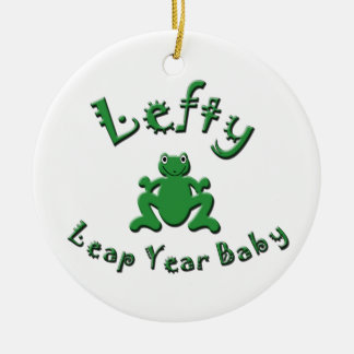 Lefty Leap Year Baby Christmas Tree Ornaments