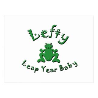 Lefty Leap Year Baby Postcard