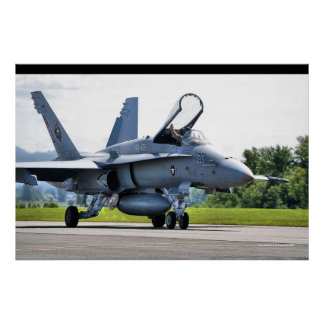 Legacy Hornet Taxiing By Poster