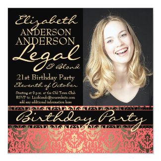 """Legal and Blond Elegant and Funny Birthday Party 5.25"""" Square Invitation Card"""
