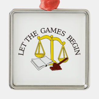 Legal Games Silver-Colored Square Decoration