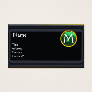 LEGAL OFFICE,ATTORNEY Monogram black jade green Business Card