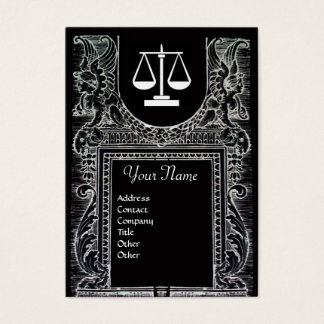 LEGAL OFFICE, ATTORNEY Monogram Black White Business Card