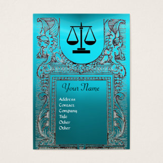 LEGAL OFFICE, ATTORNEY Monogram blue Business Card