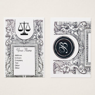 LEGAL OFFICE, ATTORNEY Monogram ,gold metallic Business Card