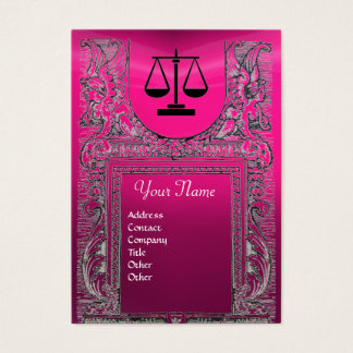 LEGAL OFFICE, ATTORNEY Monogram ,pink Business Card