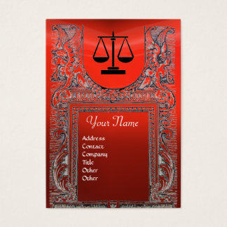 LEGAL OFFICE, ATTORNEY Monogram ,red Business Card