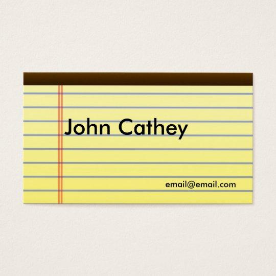 Legal Pad Designer Business Cards