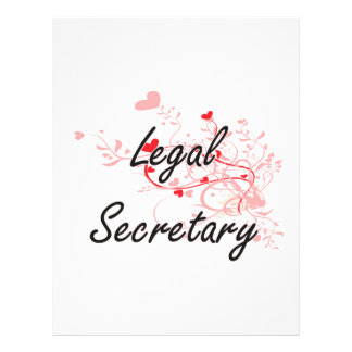 Legal Secretary Artistic Job Design with Hearts 21.5 Cm X 28 Cm Flyer