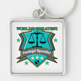 Legal World's Greatest Paralegal Specialist Silver-Colored Square Key Ring